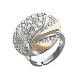 Серебряное кольцо с золотыми вставками и фианитами Делюкс