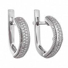 Серебряные серьги с цирконием Романтика