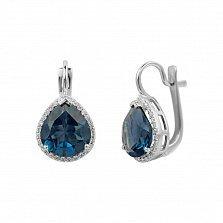 Серебряные серьги Фаиза с синим синтезированным кварцем и фианитами