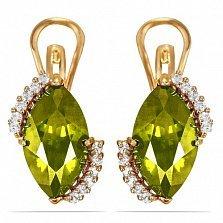 Золотые серьги Катарина с оливковым хризолитом и фианитами
