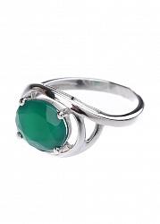 Серебряное кольцо Фаина с зеленым агатом