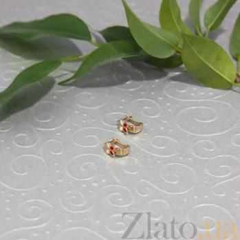 Детские золотые серьги Двухцветные бабочки с белой и красной эмалью 000091802