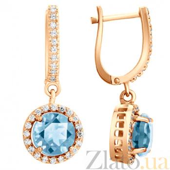 Серьги в красном золоте Келли с голубым топазом и фианитами SVA--2190021101/Топаз голубой