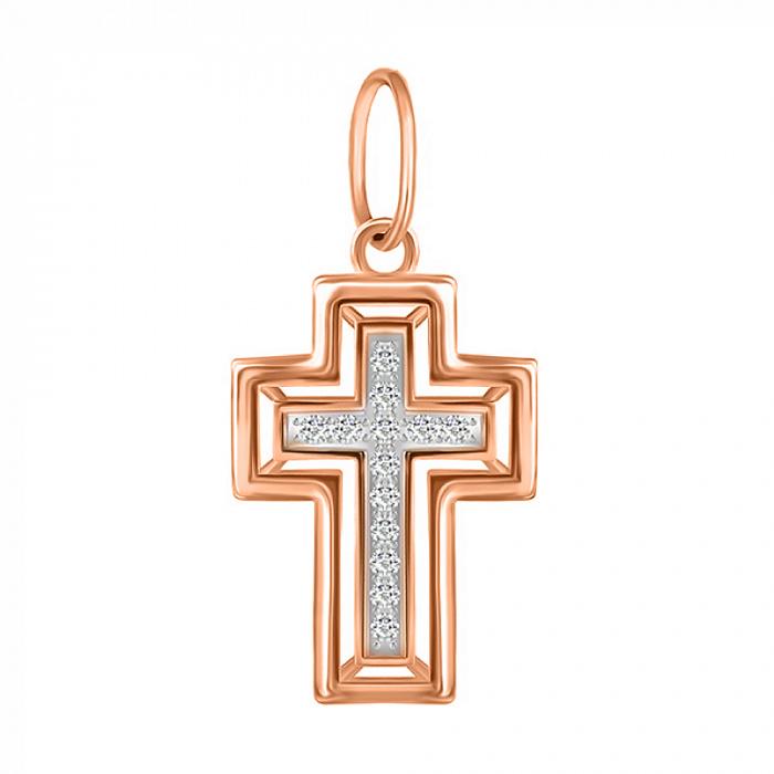 Серебряный декоративный крест Ясность в позолоте с фианитами 000053484 000053484