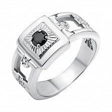 Серебряное кольцо Крепость с шинкой в квадратных вырезах с черным и белыми фианитами