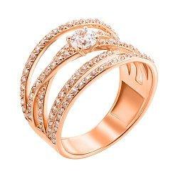 Кольцо из красного золота с фианитами 000106079
