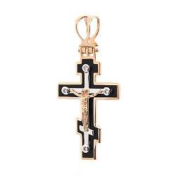 Золотой крестик Покровитель с эмалью
