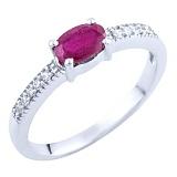 Серебряное кольцо Фаиза с рубином и фианитами