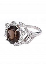 Серебряное кольцо Вероника с раухтопазом и фианитами