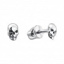 Серебряные серьги-пуссеты Скалли в форме черепа