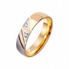 Золотое обручальное кольцо Страстное фламенко с фианитами
