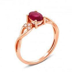 Кольцо из красного золота с рубином и бриллиантами 000125525