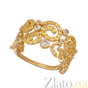 Золотое кольцо Галактика с фианитами VLT--ТТТ1161