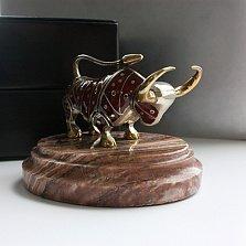 Серебряная авторская статуэтка Атакующий Бык