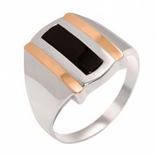 Серебряное кольцо с золотыми вставками и ониксом Султан