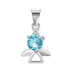 Серебряный кулон-ангел с голубым и белым фианитами 000131843
