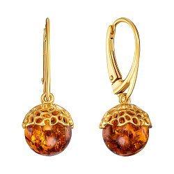 Серебряные серьги-подвески с янтарем и позолотой 000139171