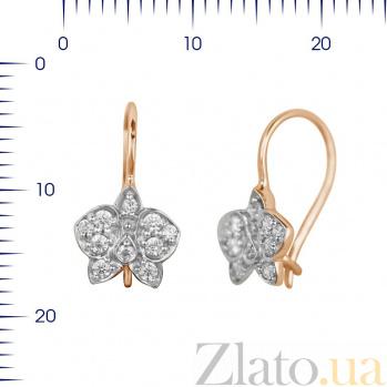 Золотые серьги Орхидеи с фианитами 000081408
