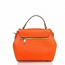 Кожаный клатч 6203 в оранжевом цвете с принтом на клапане, короткой ручкой и ремнем на плечо