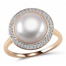 Кольцо из красного золота Амира с бриллиантами и жемчугом (пресноводным)