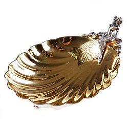Серебряная икорница Утро Русалки с позолотой