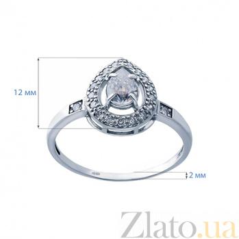 Серебряное кольцо с куб. цирконием Лепесток AQA--71782б