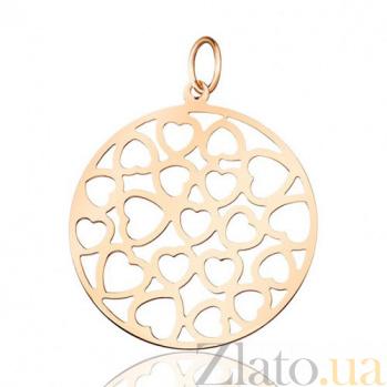 Кулон из красного золота Ажурные сердца EDM--П0257