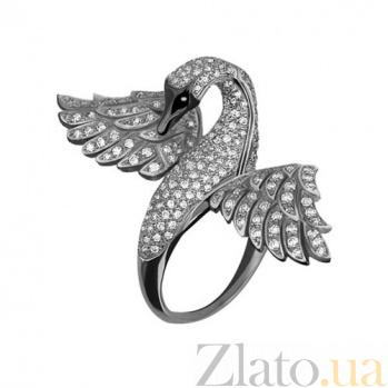 Кольцо из белого золота Лебедь с фианитами VLT--ТТ1065