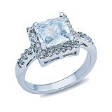 Серебряное кольцо с квадратным цирконом Брандая