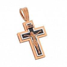 Золотой крестик Духовный мир с черной эмалью