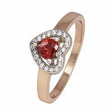 Позолоченное серебряное кольцо Love you с красным фианитом