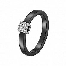 Кольцо из черной керамики и серебра Мистерия с фианитами