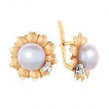 Золотые серьги Подсолнух с белой жемчужиной и бриллиантами