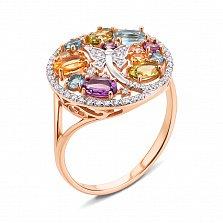 Золотое кольцо Лето-мотылек в комбинированном цвете с аметистами, топазами, хризолитами, цитринами