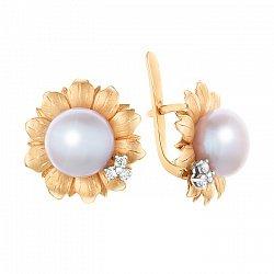 Золотые серьги с белой жемчужиной и бриллиантами 000064808