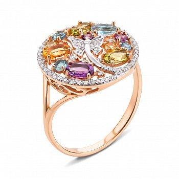 Золотое кольцо в комбинированном цвете с аметистами, топазами, хризолитами, цитринами 000117194