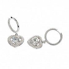 Серьги-подвески в белом золоте Любимая с бриллиантами