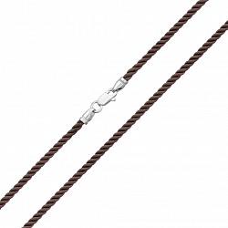 Крученый шелковый шнурок с серебряным замком 000106073, 2мм