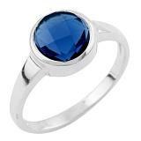 Серебряное кольцо Зухра с синтезированным сапфиром