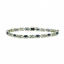 Серебряный браслет с бриллиантами и сапфирами Люка