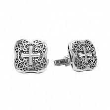 Серебряные запонки Крест с выпуклой поверхностью, узорами и чернением