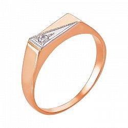 Золотой перстень-печатка в комбинированном цвете с фианитом  000104209