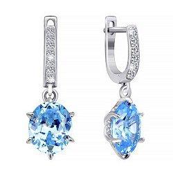 Серебряные серьги-подвески с голубыми фианитами 000029098