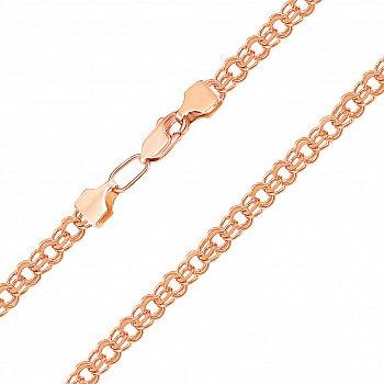 Цепочка из красного золота в плетении бисмарк с алмазной гранью 000103569