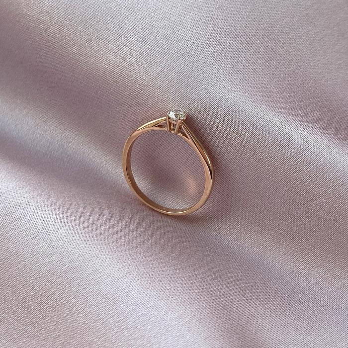 Кольцо из красного золота с бриллиантом 0,2ct 000034584 000034584
