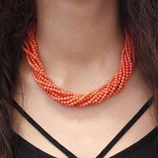 Многослойные бусы Закатное море из нежно-оранжевых кораллов на магнитном замке