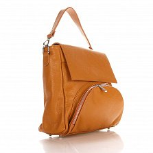 Кожаная сумка на каждый день Genuine Leather 8973 коньячного цвета с накладным карманом на молнии