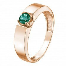 Кольцо в красном золоте Елена с изумрудом