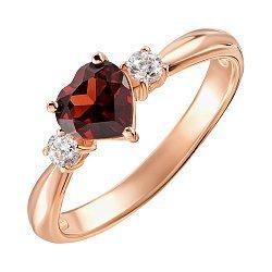 Кольцо из красного золота с гранатом и фианитами 000131341