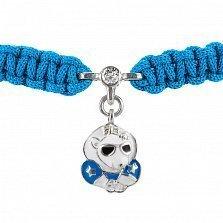 Детский плетеный браслет Звездный мишка с фианитом и голубой эмалью, 10-20см
